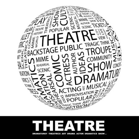 THEATRE. Globe with different association terms. Wordcloud vector illustration.   Illustration