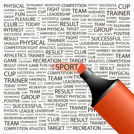 highlighter: SPORT. Highlighter over background with different association terms. Vector illustration.