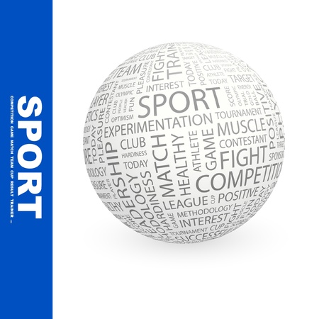 contestant: SPORT. Globe with different association terms. Wordcloud vector illustration.