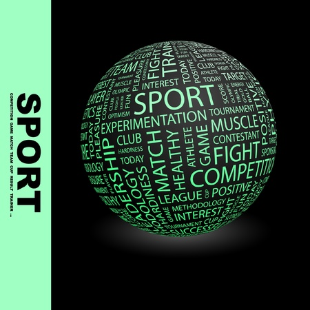 athletic type: SPORT. Globe with different association terms. Wordcloud vector illustration.