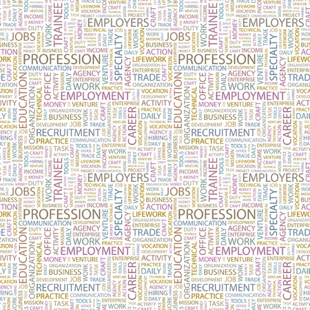 work task: PROFESSION. Seamless vector pattern with word cloud. Illustration with different association terms.