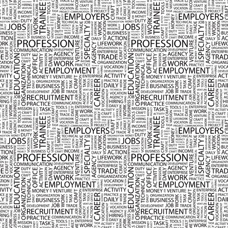 PROFESSION. Seamless vector background. Wordcloud illustration. Illustration with different association terms.   Vector