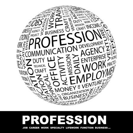 global health: PROFESSION. Globe with different association terms. Wordcloud vector illustration.