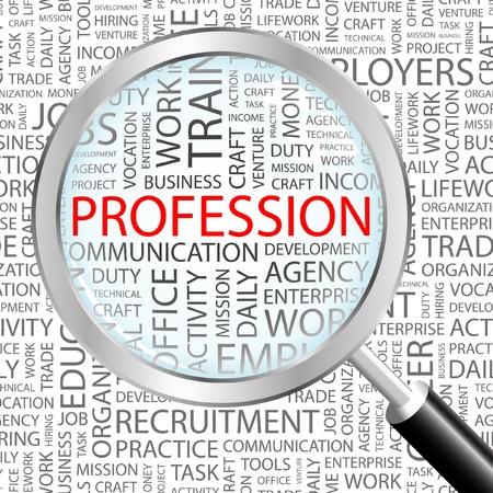 salaires: PROFESSION. Loupe sur fond avec des termes diff�rents association. Illustration vectorielle.