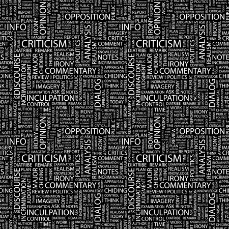 critique: CRITICISM. Seamless vector pattern with word cloud. Illustration with different association terms.