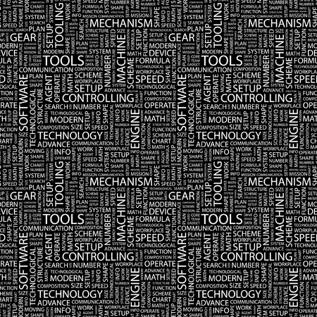 TOOLS. Seamless vector pattern with word cloud. Illustration with different association terms.   Vector
