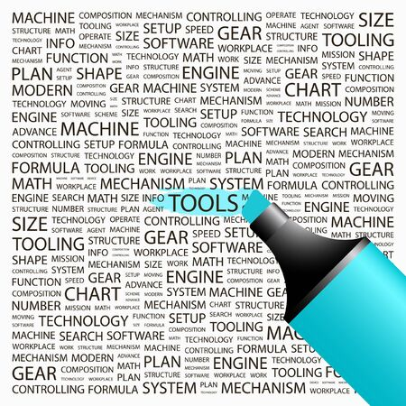TOOLS. Highlighter over background with different association terms. Vector illustration. Vector