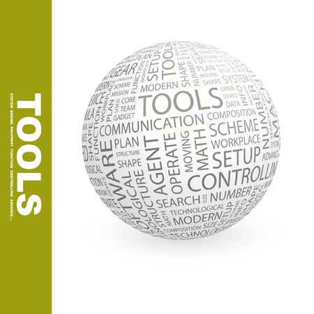 TOOLS. Globe with different association terms. Wordcloud vector illustration.   Stock Vector - 9128722