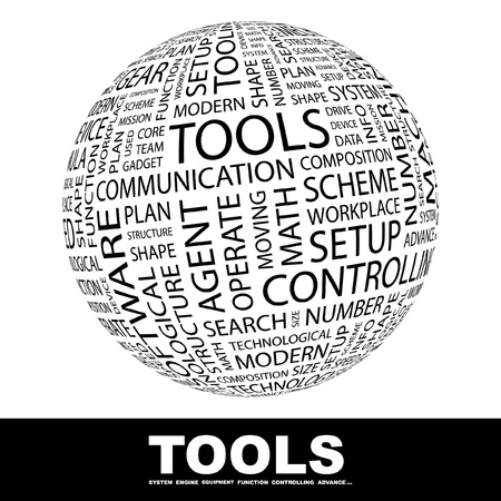 tooling: TOOLS. Globe with different association terms. Wordcloud vector illustration.