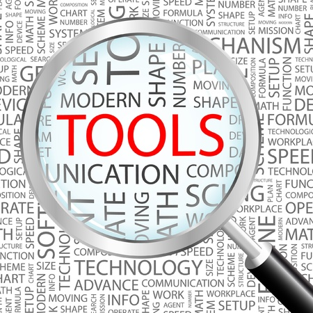tooling: TOOLS. Magnifying glass over background with different association terms. Vector illustration.