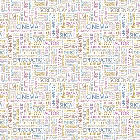 cinematograph: CINEMA. Seamless vector pattern with word cloud. Illustration with different association terms.