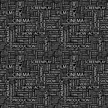 CINEMA. Seamless vector background. Wordcloud illustration. Illustration with different association terms.   Vector