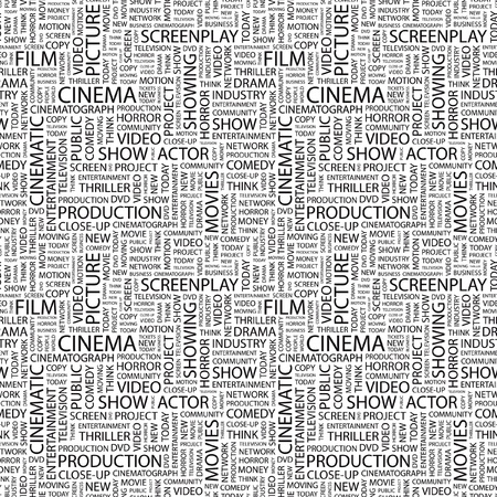 typography: CINEMA. Seamless vector pattern with word cloud. Illustration with different association terms.