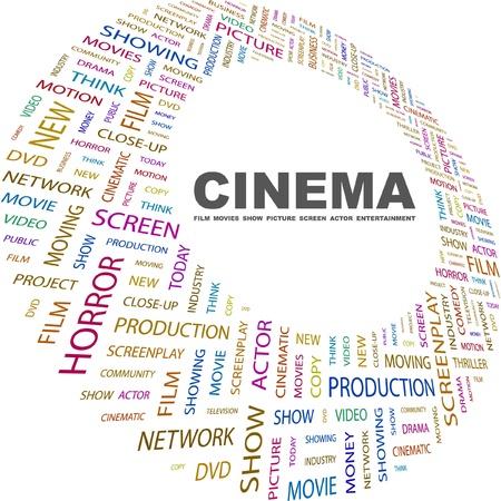 cinematograph: CINE. Collage de palabra sobre fondo blanco. Ilustraci�n vectorial. Ilustraci�n con t�rminos de asociaci�n diferente.