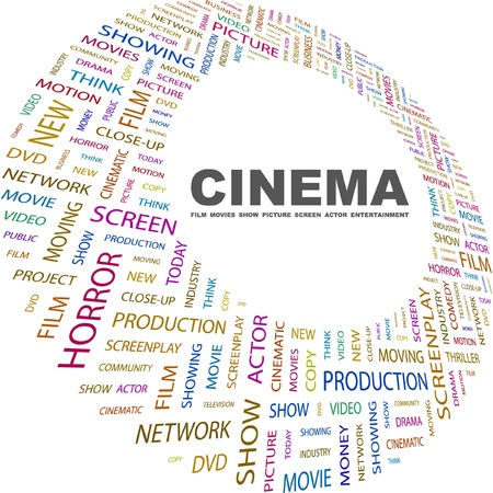 CINEMA. Word collage on white background. Vector illustration. Illustration with different association terms.    Stock Vector - 9033840