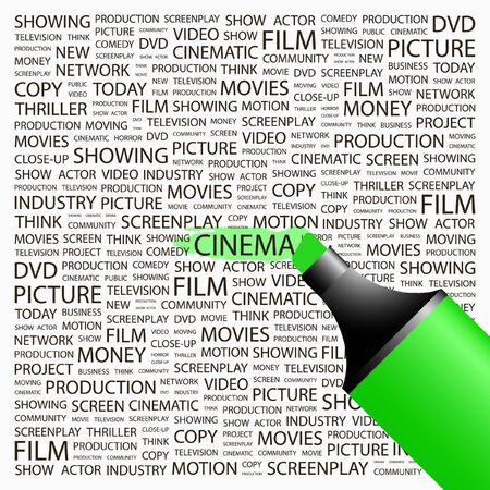CINEMA. Highlighter over background with different association terms. Vector illustration.