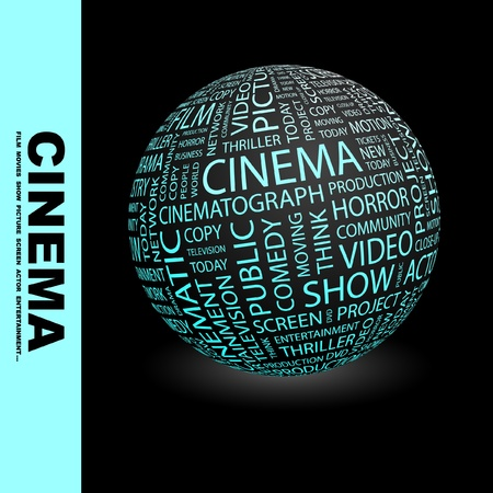 cinematograph: CINEMA. Globe with different association terms. Wordcloud vector illustration.