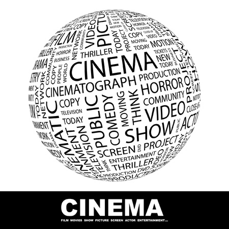 horror movies: CINEMA. Globe with different association terms. Wordcloud vector illustration.