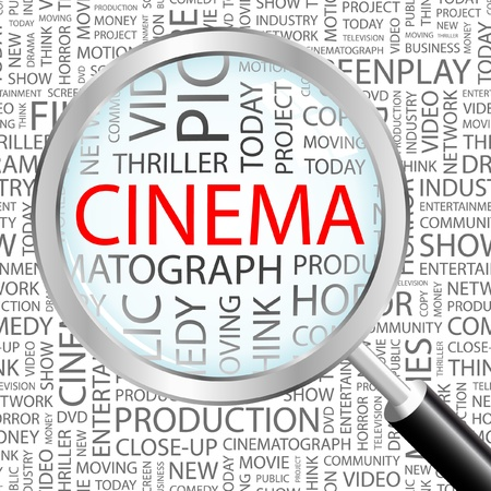 CINEMA. Magnifying glass over background with different association terms. Vector illustration.