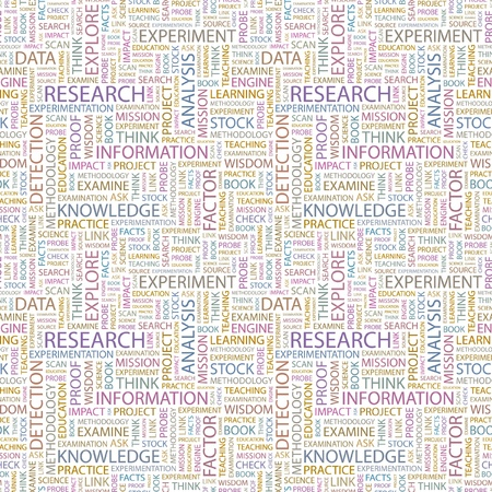RESEARCH. Seamless vector pattern with word cloud. Illustration with different association terms.   Vector