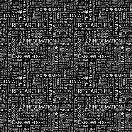 experimental: RESEARCH. Seamless vector background. Wordcloud illustration. Illustration with different association terms.   Illustration