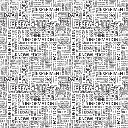 experimental: RESEARCH. Seamless vector pattern with word cloud. Illustration with different association terms.