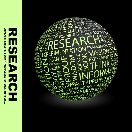 RESEARCH. Globe with different association terms. Wordcloud vector illustration.