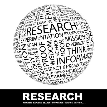onderzoek: ONDERZOEK. Wereldbol met verschillende vereniging voorwaarden. Wordcloud vectorillustratie.