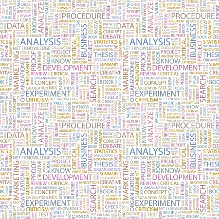 critique: ANALYSIS. Seamless vector pattern with word cloud. Illustration with different association terms.