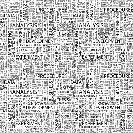 stratgy: ANALYSIS. Seamless vector pattern with word cloud. Illustration with different association terms.
