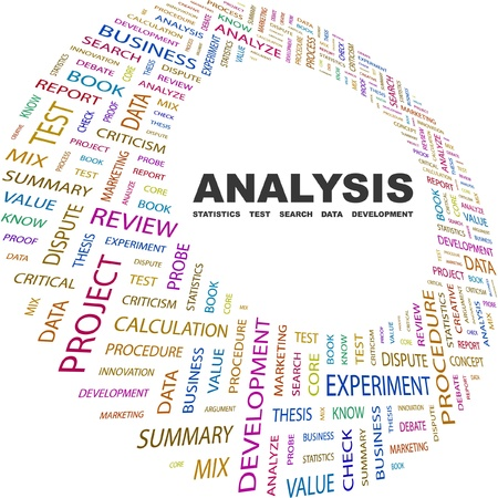 ANALISI. Collage di parola su sfondo bianco. Illustrazione vettoriale. Illustrazione con termini differenti associazione.