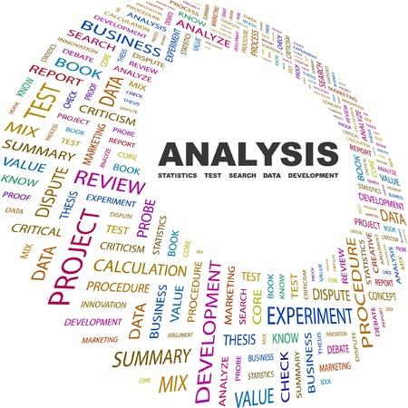 ANALYSE. Collage de mot sur fond blanc. Illustration vectorielle. Illustration avec termes différents association.