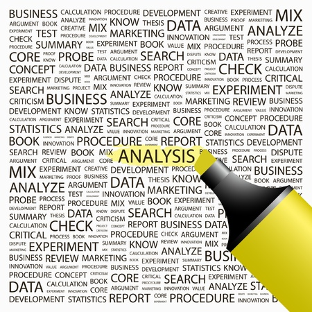 statistics: ANALYSIS. Highlighter over background with different association terms. Vector illustration. Illustration