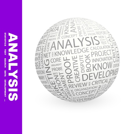 stratgy: ANALYSIS. Globe with different association terms. Wordcloud vector illustration.