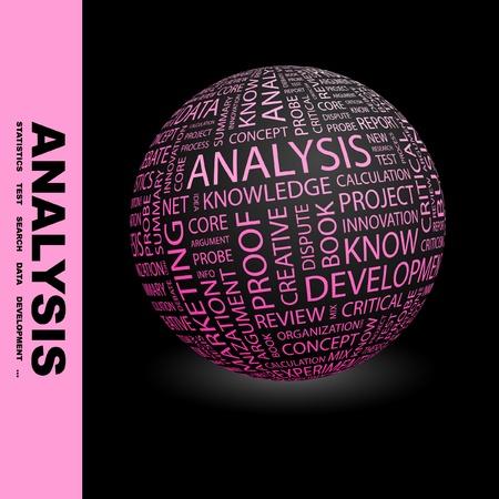 social issues: ANALISI. Globo con termini differenti associazione. Wordcloud illustrazione vettoriale.   Vettoriali