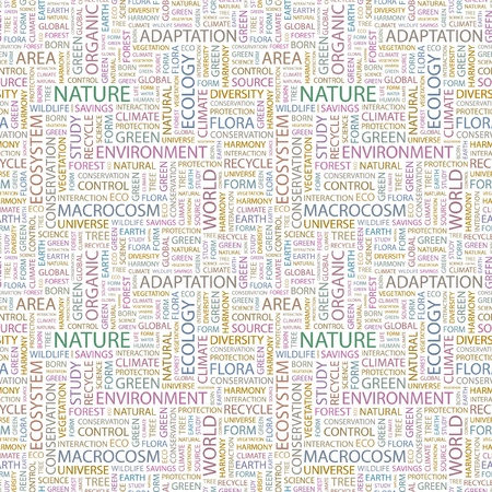 NATURE. Seamless vector pattern with word cloud. Illustration with different association terms.   Stock Vector - 8840282