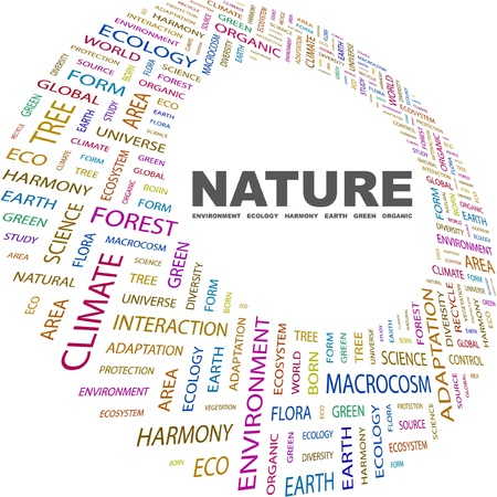 NATURE. Word collage on white background. Vector illustration. Illustration with different association terms. Stock Vector - 9033851