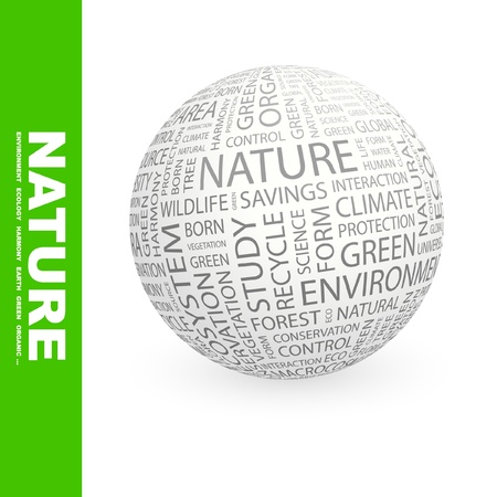 the humanities landscape: NATURE. Globe with different association terms. Wordcloud vector illustration.   Illustration