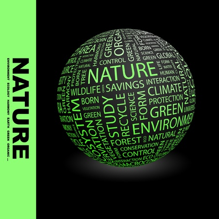 NATURE. Globe with different association terms. Wordcloud vector illustration.   Vector