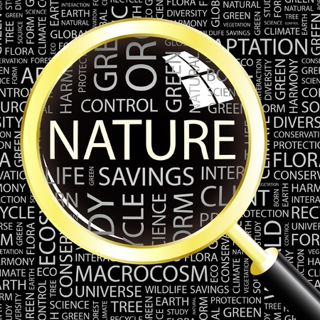 macrocosm: NATURE. Magnifying glass over background with different association terms. Vector illustration.