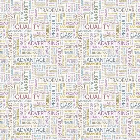 QUALITY. Seamless vector pattern with word cloud. Illustration with different association terms.   Vector