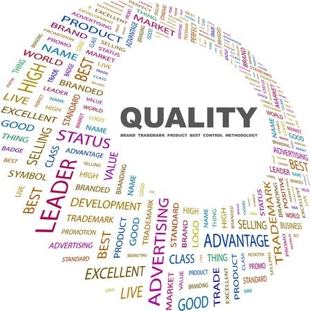 management qualit�: QUALIT�. Collage de mot sur fond blanc. Illustration vectorielle. Illustration avec termes diff�rents association.