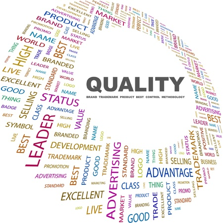 trademark: QUALITY. Word collage on white background. Vector illustration. Illustration with different association terms.