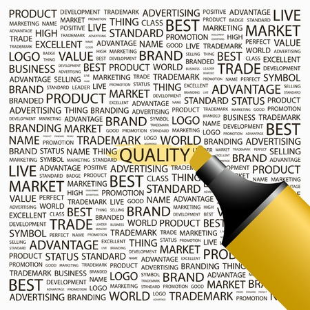 合計: 品質。蛍光ペンの異なる関連用語の背景の上。ベクトル イラスト。