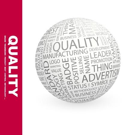 kiválóság: QUALITY. Globe with different association terms. Wordcloud vector illustration.