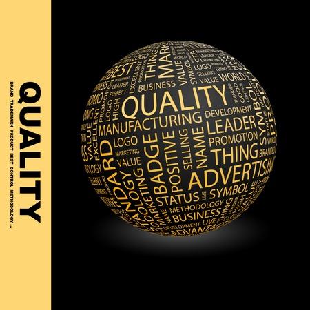management qualit�: QUALIT�. Globe avec termes diff�rents association. Wordcloud, illustration vectorielle.