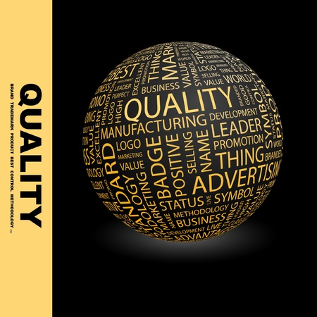 QUALITY. Globe with different association terms. Wordcloud vector illustration. Stock Vector - 9128818