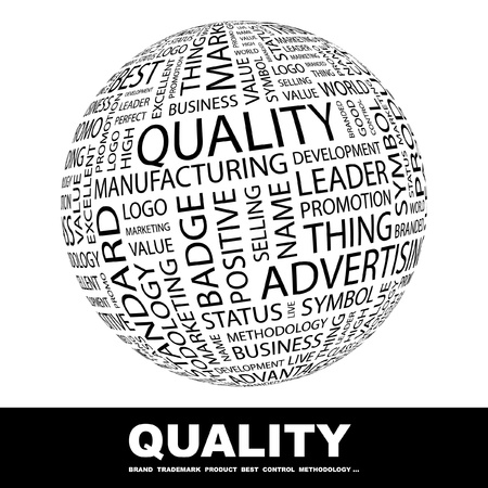 quality management: QUALITY. Globe with different association terms. Wordcloud vector illustration.