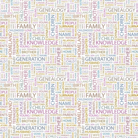 FAMILY. Seamless vector pattern with word cloud. Illustration with different association terms.   Vector
