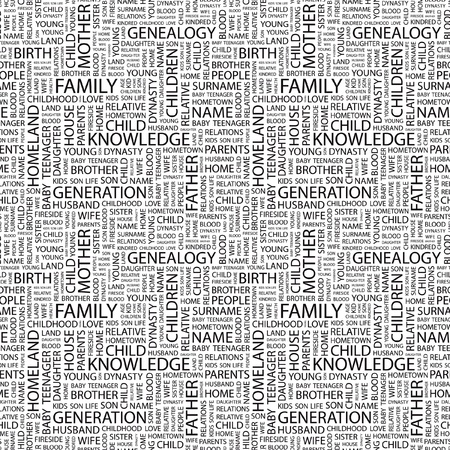 kindred: FAMILY. Seamless vector pattern with word cloud. Illustration with different association terms.